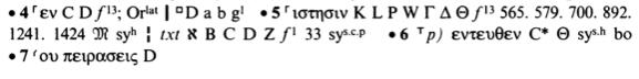 ¿Aprender griego bíblico? Aparato crítico para Mateo 4:4-7 en el Novum Testamentum Graece de Nestle-Aland, 28º edición.